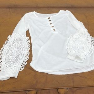 Thin white button up lace sleeves small shirt